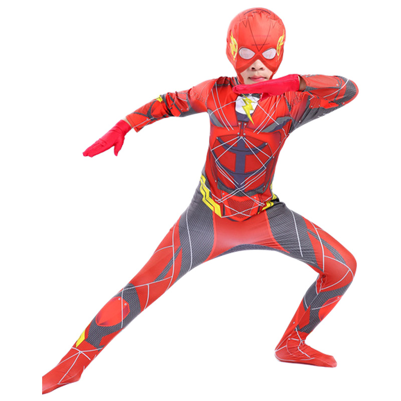 Flash Costume Kids Boys The Flash Cosplay Costume For Kids Justice League Superhero Halloween Costume For Kids Carnival Jumpsuit