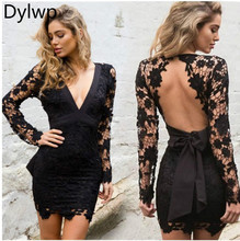 2019 Women Deep V-neck Backless Dress Long Sleeve Lace Hollow Bodycon Dress Black Pink Mini Party Dresses Plus Size Vestido black crossed front design deep v neck mini dresses