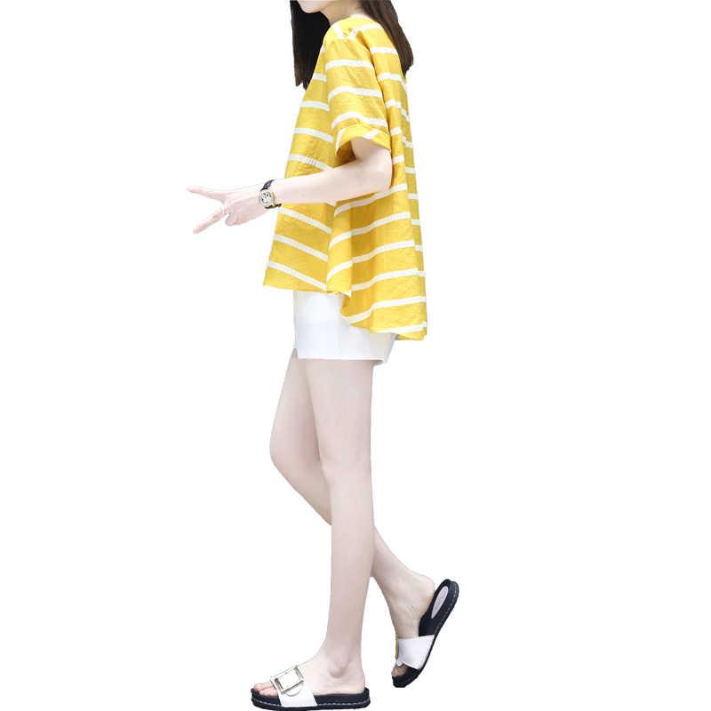 2020 Moederschap Zomer Losse Mode Kleding Set Wijdbeens Buik Korte Broek + Gestreepte Katoenen Shirts Zwangere Vrouwen Shorts suits