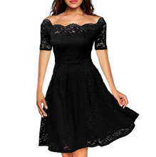Summer Women Off-shoulder Lace Dress Sexy Festivals Elegant Party Classics Comfort Vintage Dresses