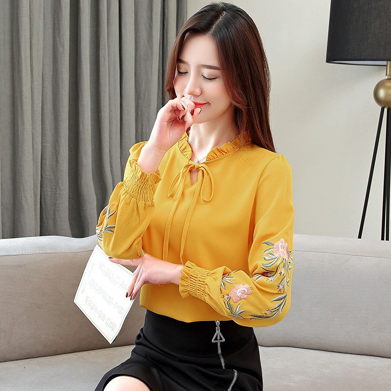 2019 Women Floral Embroidery Chiffon   Blouse     Shirt   Lace Up Plus Size   Blouses   Vintage Long Sleeve   Shirt   Tops