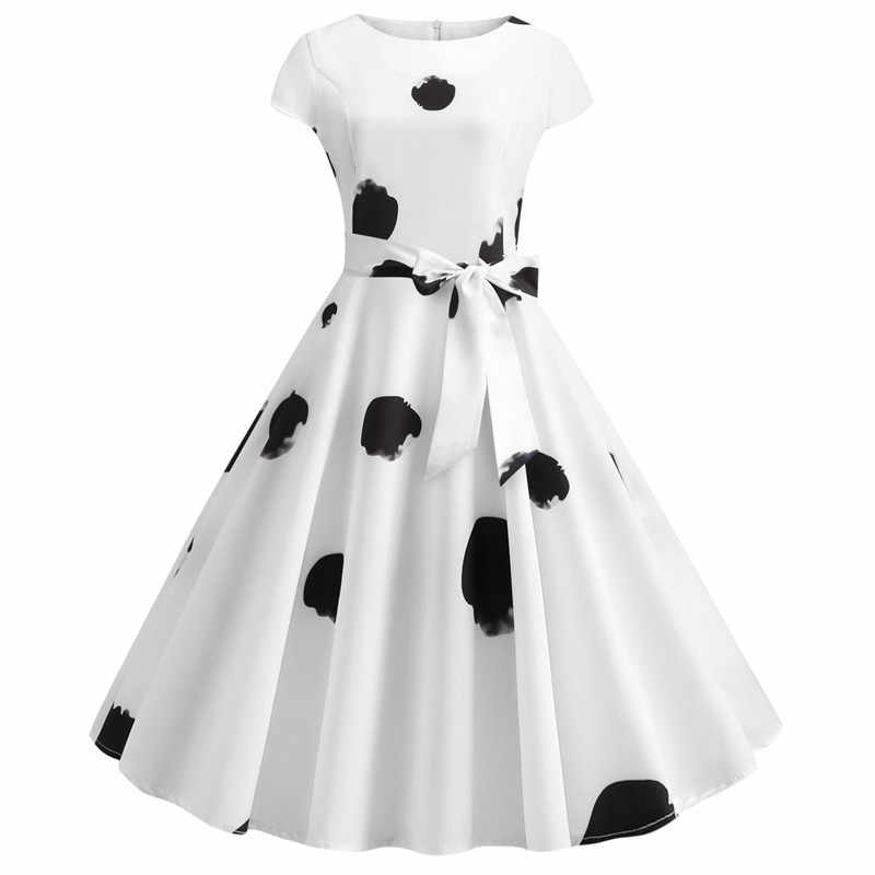 Mais Mulheres do Tamanho Vestidos de Verão Branco Polka Dot Hepburn 60 50s s Do Vintage Vestidos de Manga Curta Robe Femme Casuais escritório do partido Vestido