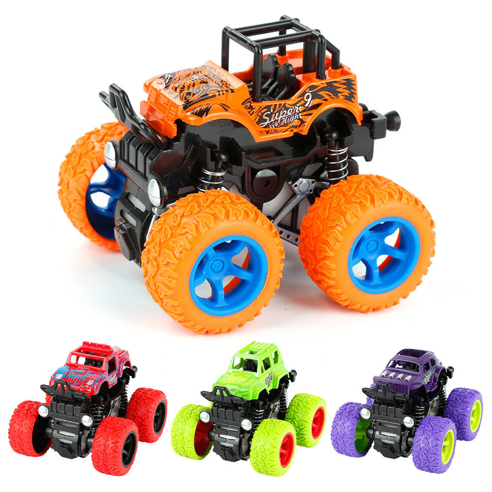 2018 Mini Inertial off-Road Vehicle Four-Wheel-Drive Plastic Children Toy Car Pull Back Stunt Car