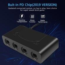 핫 휴대용 USB 어댑터 변환기 4 포트 Wii U PC 스위치 변환기 게임 큐브 컨트롤러 용 PC 게임 액세서리