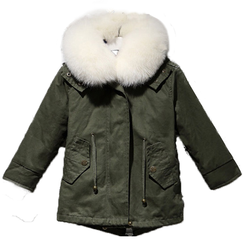 Army Green Coat Parpas Children NatualRex Rabbit Fur Coat Kids Thick Fur Coat Winter Warm Outwear V-Neck Coat Waistcoat C#03 coat gaudi coat
