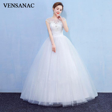 VENSANAC 2018 Lace Appliques Illusion O Neck Crystal Ball Gown Wedding Dresses Sequined Open Back Bridal Dress