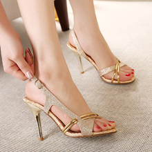 CHANGYUGE High Quality Summer Women Heel Shoes Sandal Casual Solid Sexy Heeled Sandals Sandalias Mujer Golden