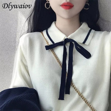 2018 Autumn Women Sweater New Small Fresh Bow Sweaters Female Korean Version Lapel Collar Sweet  Knit Pullover Tops