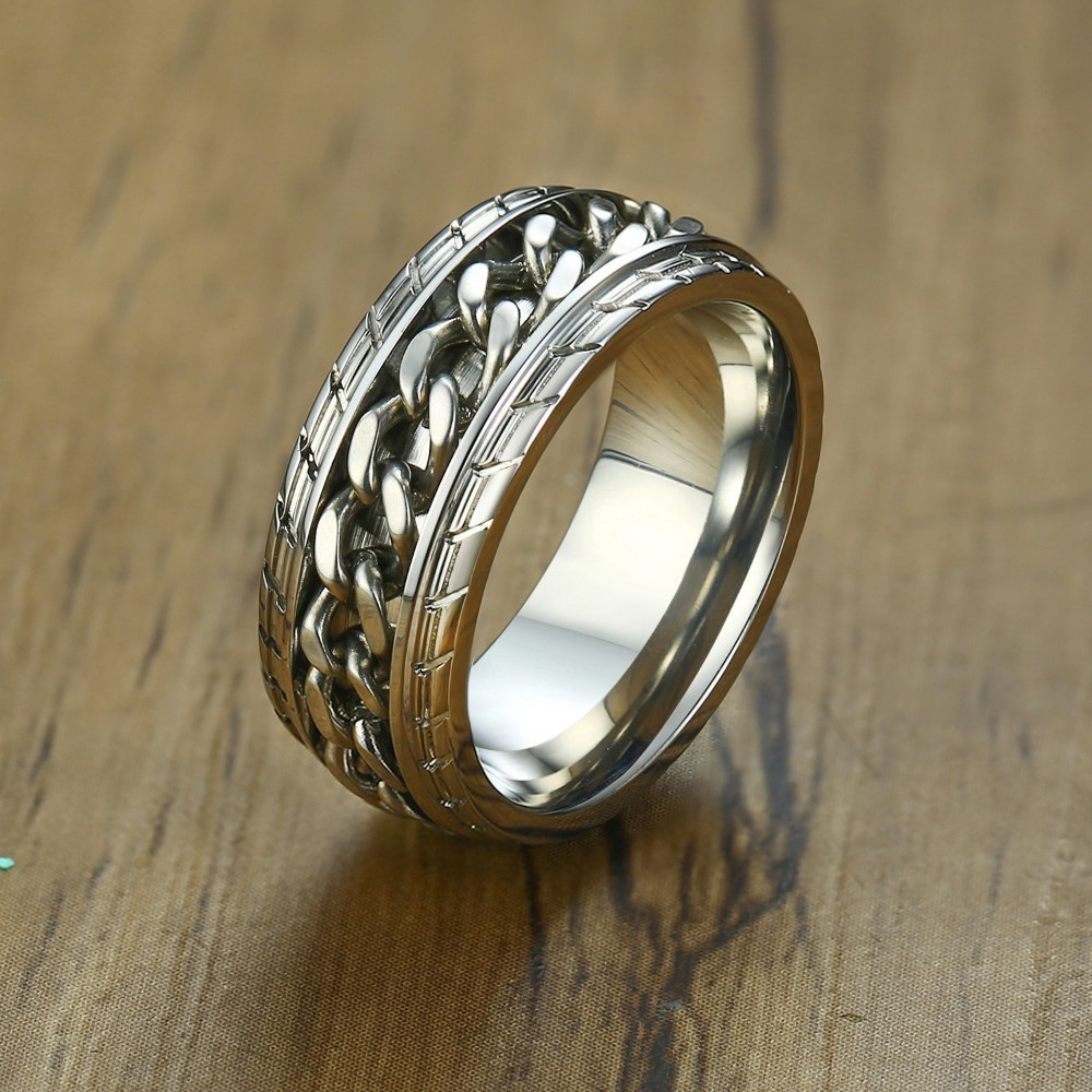 MeditationRing Men Spinner Spinning Ring in Stainless Steel Curb Chain Worry Anxiety Rings|Rings| - AliExpress