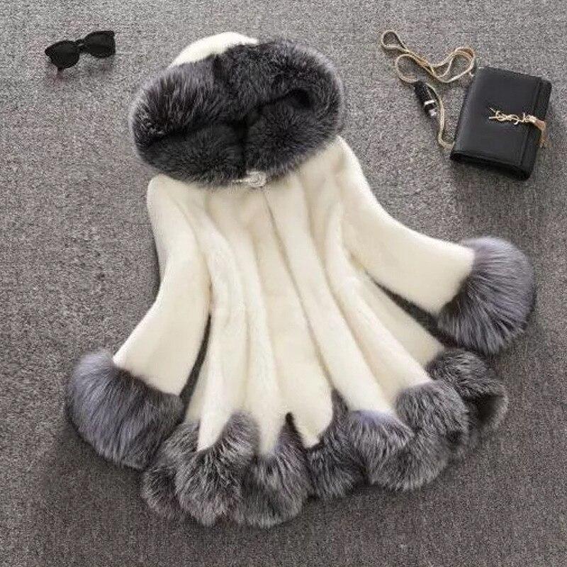 Fourrure Chapeau black Imiter Hiver Cuir De White Lâche Femmes Manteau Taille Ours En Fox Coréenne Modèle Européenne Lapin Artificielle Nouveau Peluche 1qEwRYxa