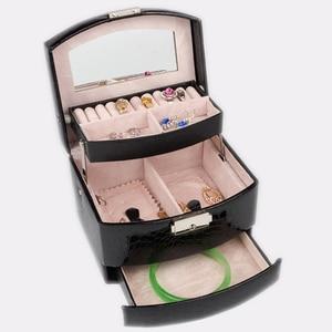 Image 3 - 自動革の宝石箱三層収納ボックス女性のためのイヤリングリング化粧品オーガナイザー棺装飾用黒