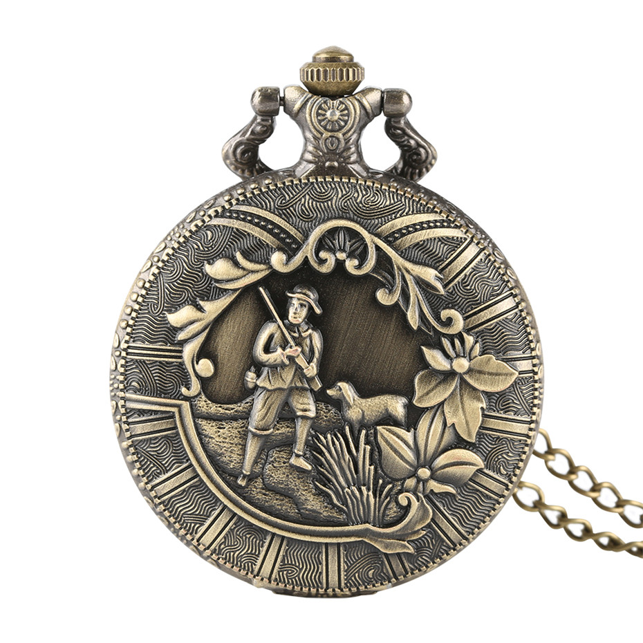 Vintage Bronze Hunter And His Dog Pattern Pocket Watch Men Quartz Casual Men's Watches Fob Necklace Pentdant Male Gifts