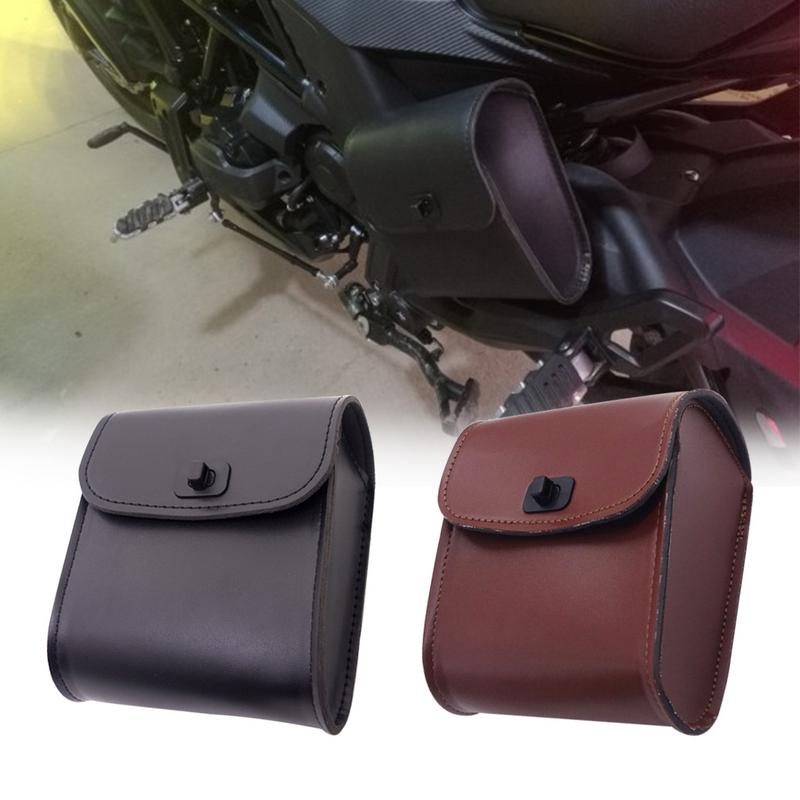 1PC Motorcycle Saddle Bag Black Brown Leather Motorcycle Bags For Harley Waterproof Insulated PU Leather