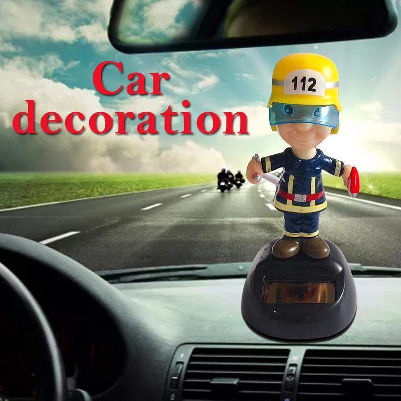 Solar Shaking Head Car Decoration Feuerwehr Firefighters Figure Doll Ca