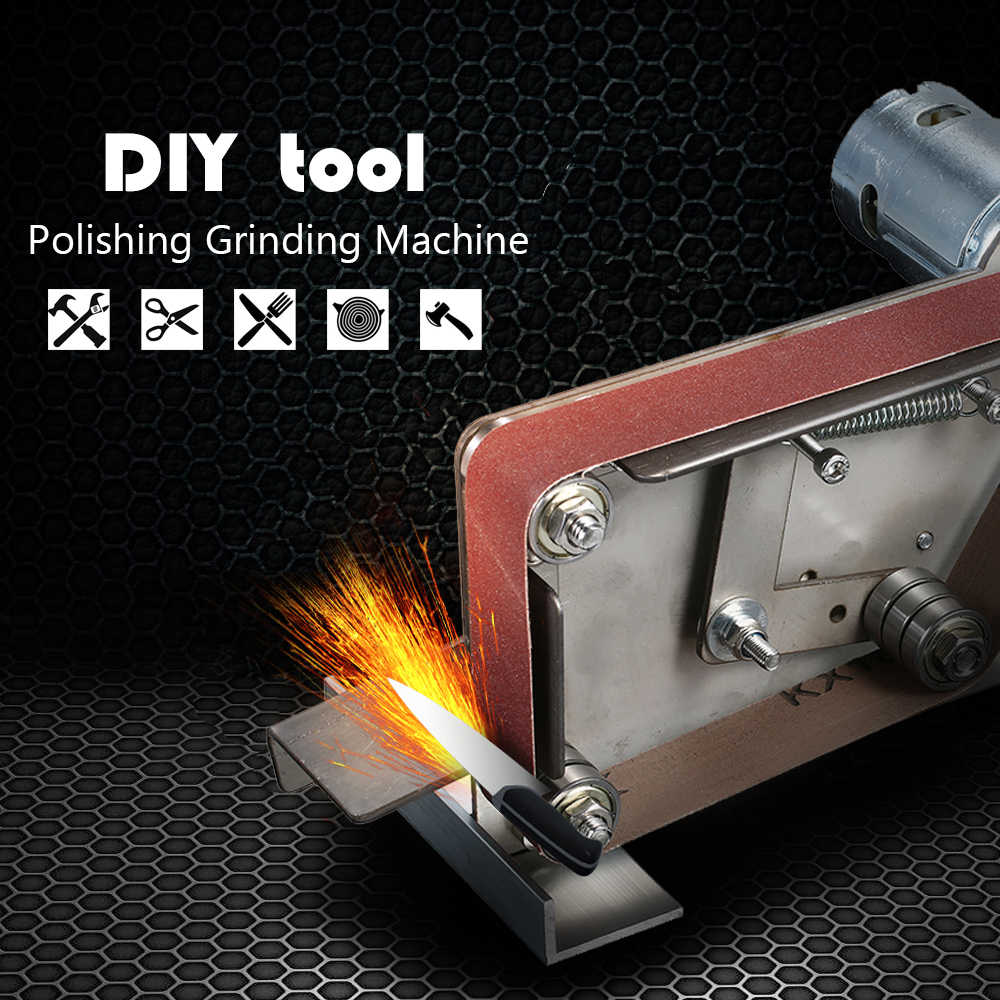 Multifungsi Tepi Rautan AC 110-240 V Penggiling Listrik Mini Belt Sander DIY Polishing Grinding Mesin Pemotong Alat Listrik