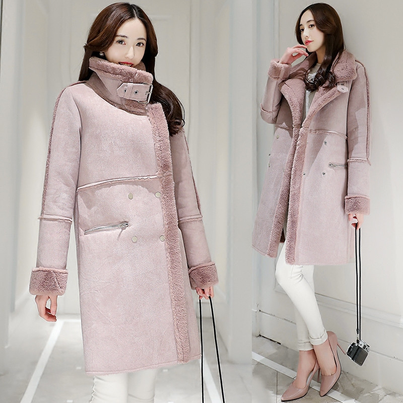 Long 2019 Manteau Laine Femmes Coton Élégant Chaud Parka Veste C3626 Gray D'agneau pink En Ouatée Épaissir D'hiver Daim femme vrvwCSXnq