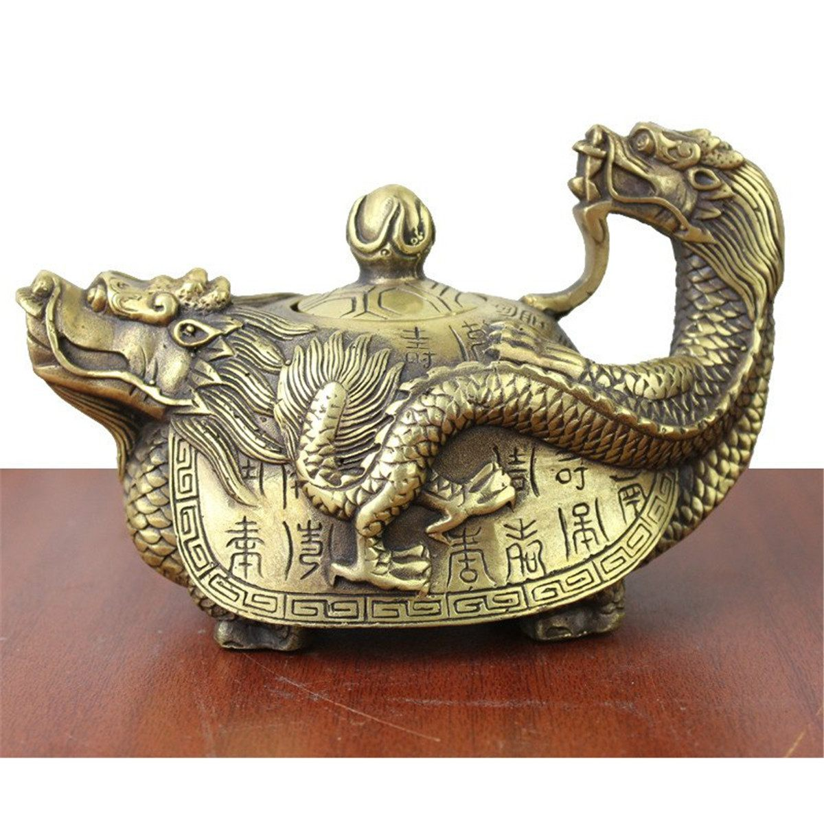 Chinese Pure Brass Teapot Vintage Copper Dragon Tea Pot Flagon Handmade Artwork Figurines Miniatures Gifts Decoration Crafts