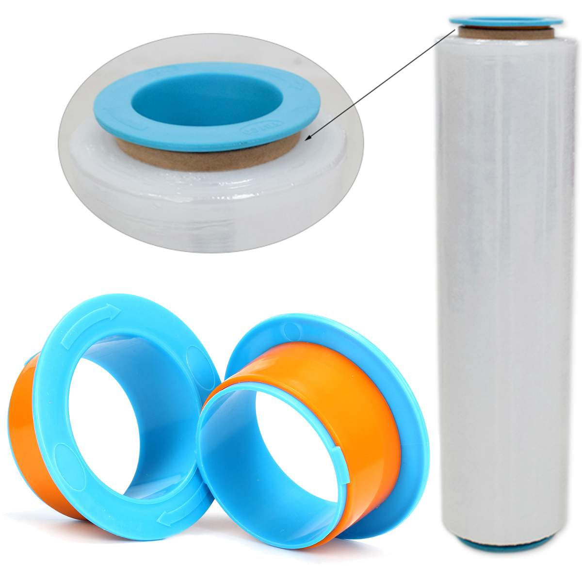 Frank 1 Pair Stretch Film Hand Saver Protector Wrapping Machines Films Port Lubricator For 3 Inch Diameter Film Core Rolls Hand Tools Tools Power Tool Accessories