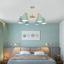 Omicron Post-modern Led Pendant Lights Iron Wood Six Colors Power Saving Lamps For Living Room Bedroom Home Decor