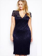 Party Vestidos Big Plus Size M-4xl Sexy Casual Lace 2019 Party Dresses Chubby Girls Women Dress 5 Colors Lace Sexy Fashion Dress(China)