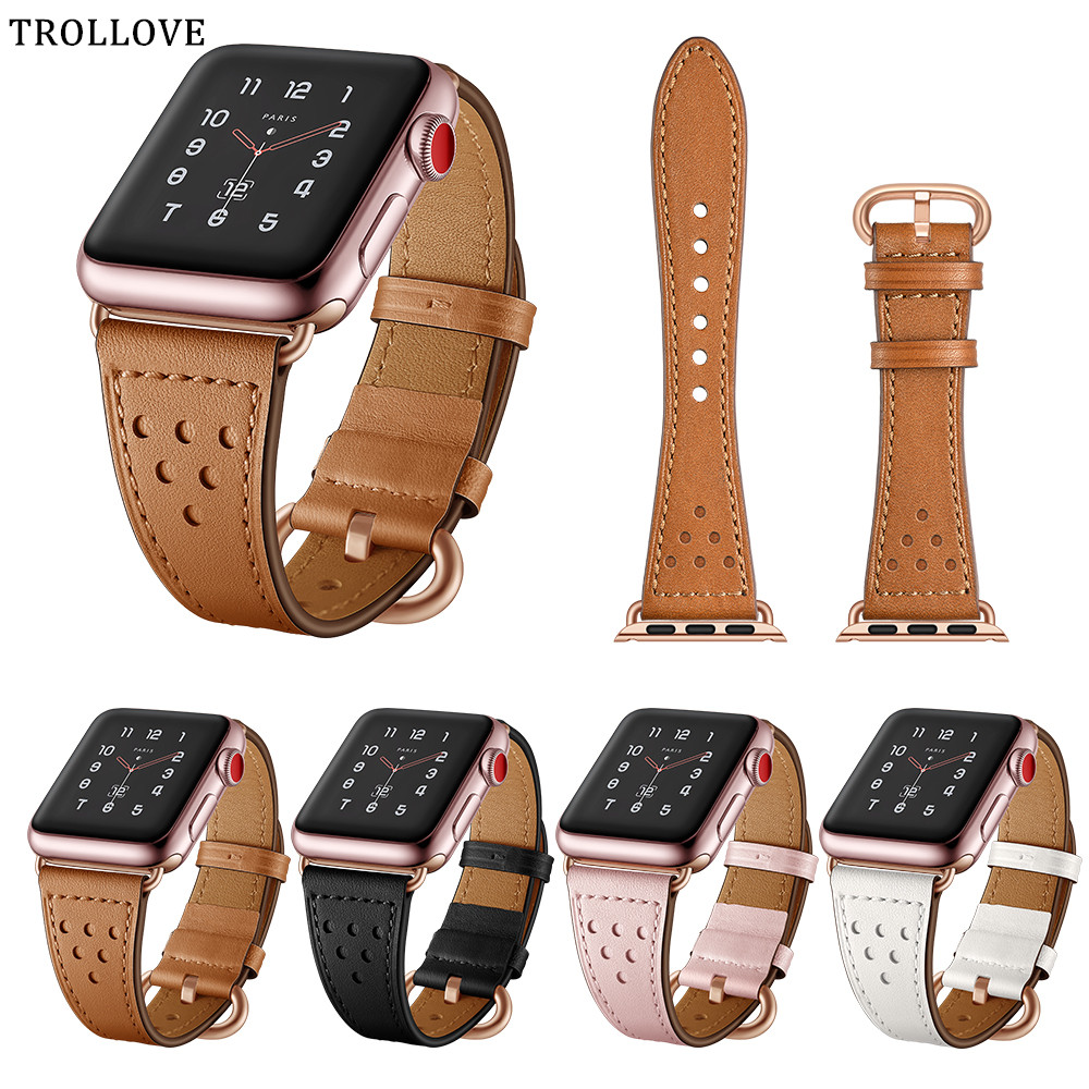 Watch Band for Apple Watch Series 4 3 2 1 Leather Strap for Iwatch 38mm 42mm 44mm 40mm Bracelet Wrist Bands Watch Accessories