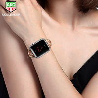 For Apple Watch Strap Adjustable Replacement Stainless Steel Unique Diamond Design Wrist Bracelet For iWatch Series 3 2 1