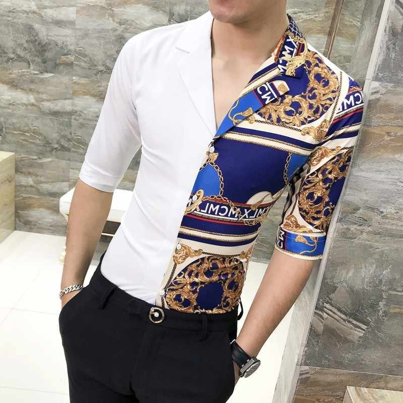 2019 Summer Shirt Men Patchwork Fashion Printing Shirts Men Half Sleeve Slim Fit Streetwear Camisa Masculina Men Shirt 3XL-M