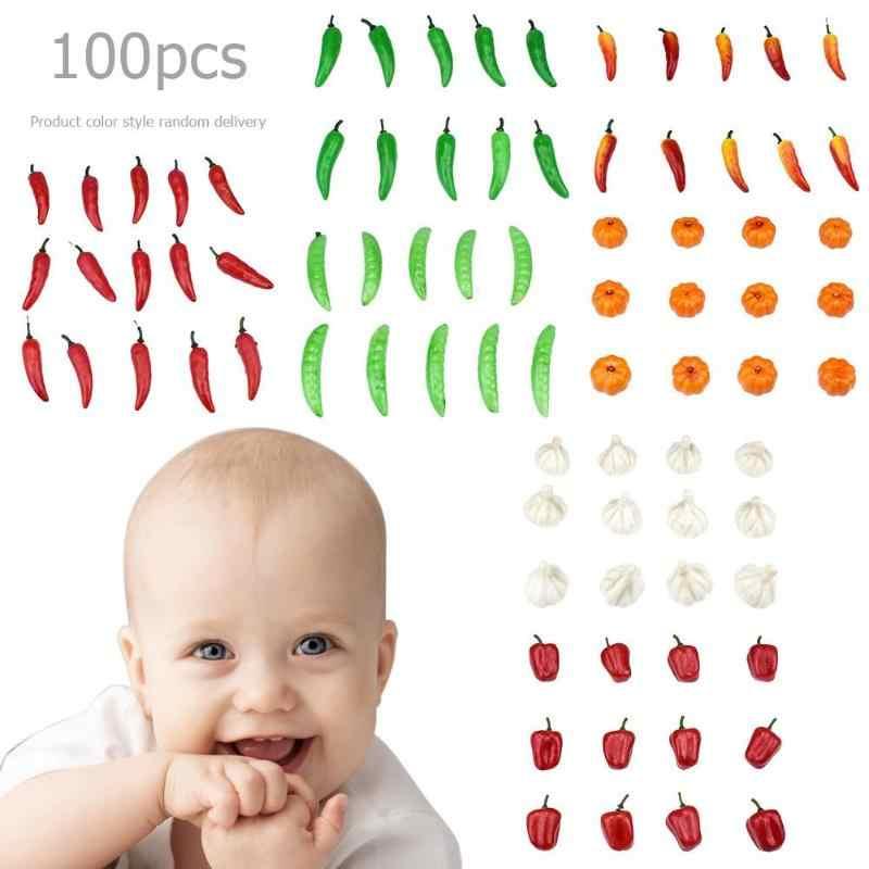 Owoce warzywa jedzenie miniaturowe gry lalki prezenty do domu Mini sztuczne warzywo pieprz dynia czosnek udawaj zagraj w zabawka do cięcia