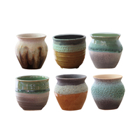 6PCS Collective Cute Breathable Permeable Bubble Glaze Ceramic Cactus Succulent Plants Holder Planter Container Pots