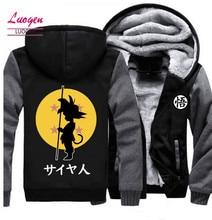 США размер японского Аниме Драконий жемчуг сын Гоку толстовки мужские куртки зимние теплые пальто на молнии с капюшоном флисовое плотное пальто плюс размер