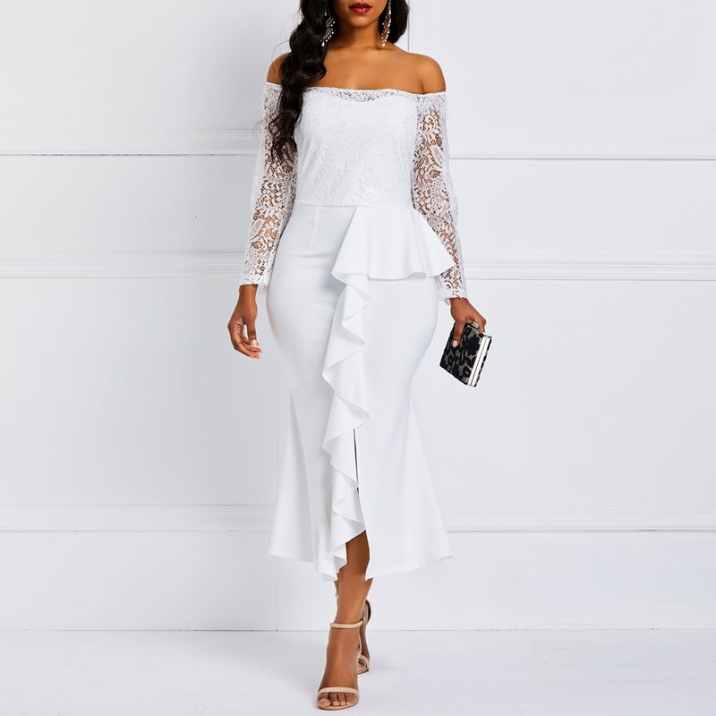 Off Shoulder Bodycon Lace Dress Women Spring Sexy Evening Hollow Out Hook Flower Elegant Ruffles Party White Midi Dresses Female