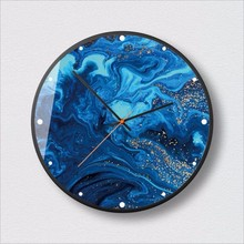 New Wall Clock 12Inch/14Inch Blue Toned Gold Fashion Nordic Minimalist Style Large Size Modern Design For Home
