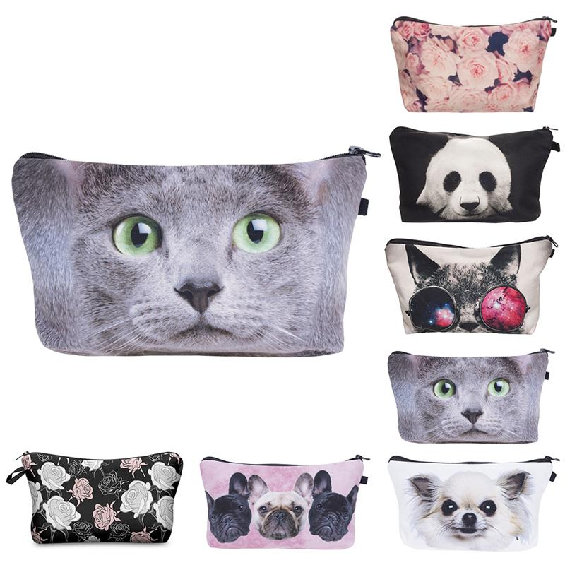 3D Animls Organizer Cosmetic Bags Girls Cute Dog Cat Pug Flowers Pattern Clutch Bags For Makeup Necessaries Women Travel Gift