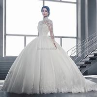 Dubai Arabic Muslim Wedding Dress Long Sleeves Appliques Bridal Gowns Custom Made Ball Gown Wedding Dresses Robe De Marriage