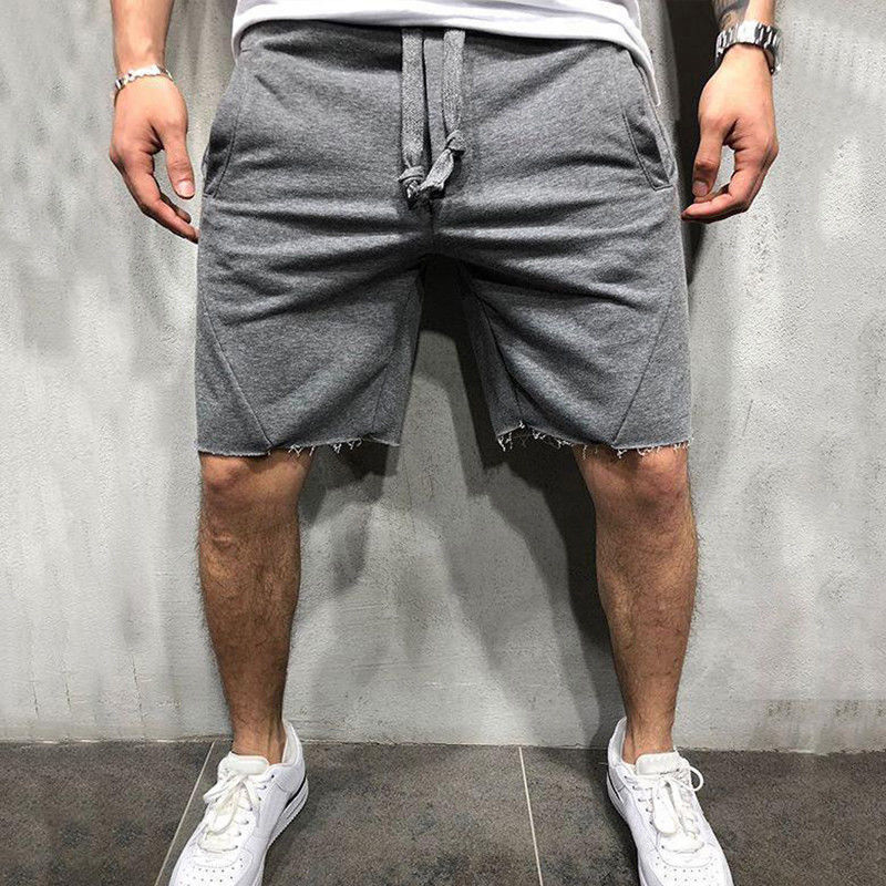 New Fashion Men's Loose Casual Cotton Knee-length Shorts Summer Male Solid Color Elastic Waist Drawstring Pockets Shortpants Man