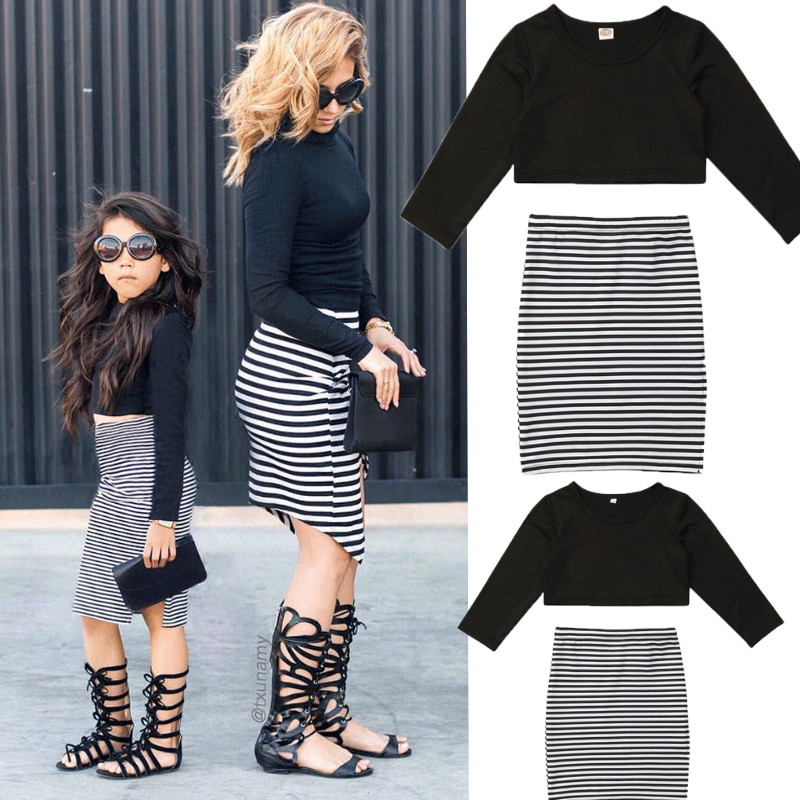 2019 Mother Daughter Dress Long Sleeve T Shirt + Striped Skirts Mom Baby Girls Dresses Clothing Summer Family Matching outfits