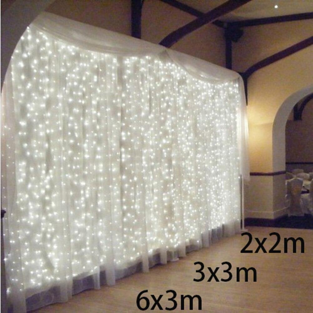 2x2/3x3/6x3m Led Icicle Led Curtain String Fairy Light 300 Led Xmas Christmas Wedding Garden Party Garland Decor 600 Outdoor