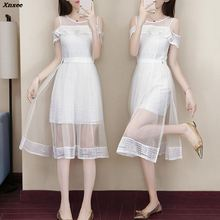 Summer 2 Piece Sets Women Off Shoulder Sexy Mini Dress Elegant Party Mesh Lace Dress And A-line Lace Skirt Suits Xnxee