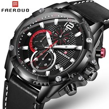 FAERDUO New 3D Designer Sport Watches For Men Chronograph Military Black Watch Quartz Leather Mens Top Brand Luxury