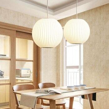 Post-Moderne Weiß Seide Led Anhänger Lichter Restaurant Schlafzimmer Suspension Hängen Lampe Kunst Einzigen Kopf Lampe Anhänger Beleuchtung