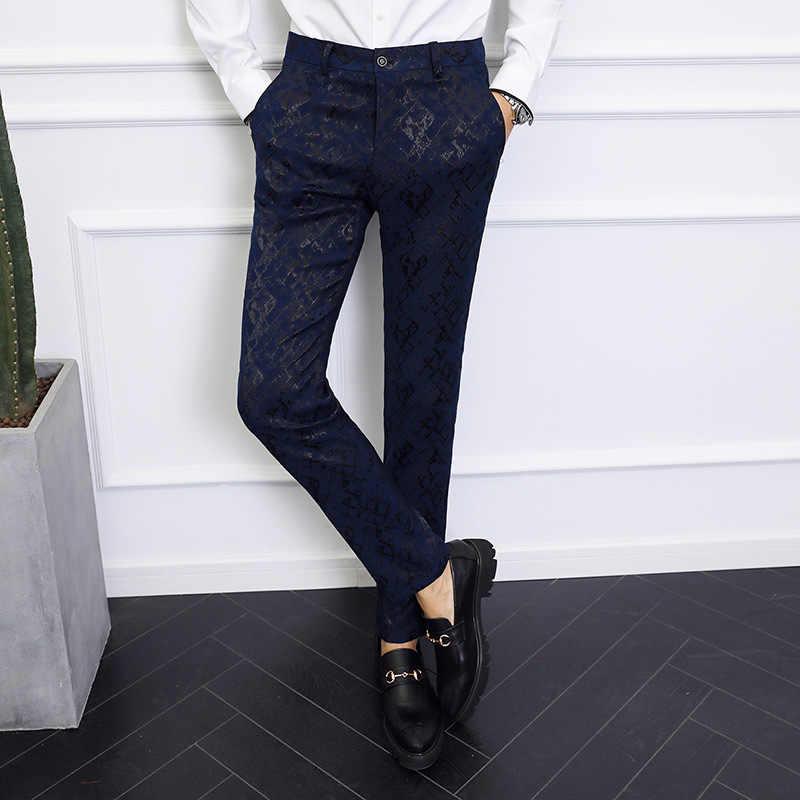 カジュアルスーツパンツ男性服のズボンの男性 2019 春秋の真新しいビジネスフォーマル男性パンツパンツスリムフィット