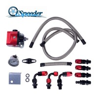 ESPEEDER Engine Parts Aluminum Fuel Pressure Regulator FRP Adjustable With Gauge Hose End AN6 Fitting Set Black Red