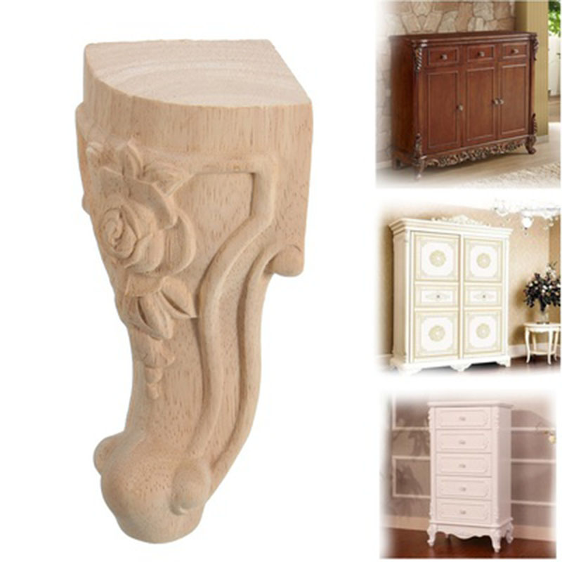 4 Pcs 15*6cm Wood Carved Rose Foot Frame Decor Furniture Table Craft Unpainted Door Decor Wall Art