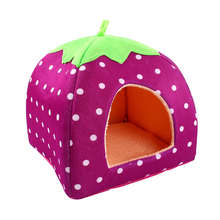 2016 New Soft Strawberry Pet Dog Cat Rabbit Bed House Kennel Doggy Warm Cushion Basket Color New Leopard Hot Selling(China)