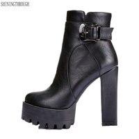 2019 women super high heels boots cow leather dress shoes woman platform spring autumn ankle boots woman large size 41 42