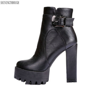Image 1 - 2019 women super high heels boots  dress shoes woman platform spring autumn ankle boots woman large size 41 42