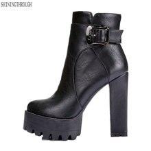 Botas Zapatos de vestir de tacón superalto para mujer, zapatos de otoño y primavera con plataforma, botines, 41 42 talla grande, 2019