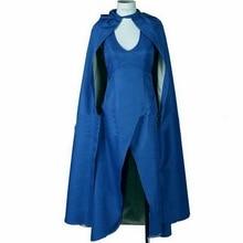 купить Carnival Game Of Thrones Cosplay Daenerys Targaryen Wedding Dress Costume Halloween Party Long Blue Dress Sexy Blue Dress Cloak по цене 1433.82 рублей