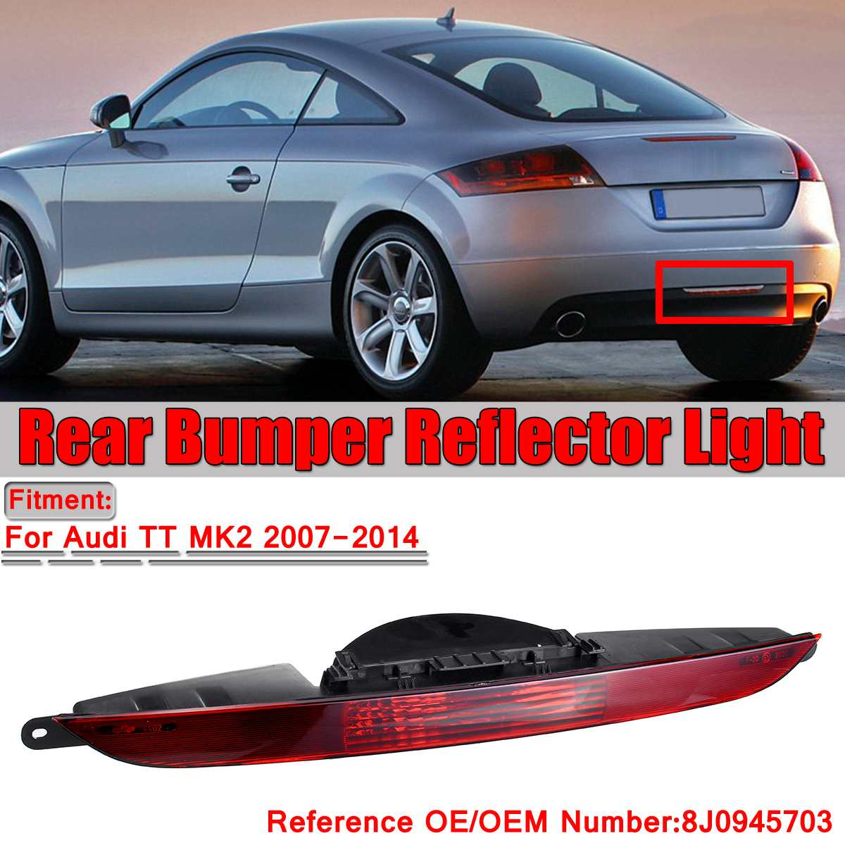 MK2 Car Rear Tail Light Rear Lamps Rear Bumper Center Reflector Fog Light Tail Lamp For Audi TT MK2 2007-2014 8J0945703 No BulbMK2 Car Rear Tail Light Rear Lamps Rear Bumper Center Reflector Fog Light Tail Lamp For Audi TT MK2 2007-2014 8J0945703 No Bulb