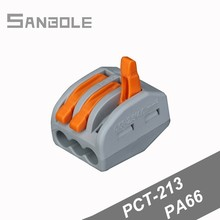 PCT-213 Wire Connector Universal Connection Terminal Block General Purpose Electrical Terminale 3 Pins (100pcs)
